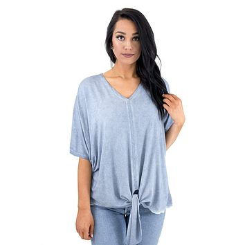 Women's V-neck Front Tie Top