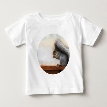 Squirrel on a bench and some nuts baby T-Shirt