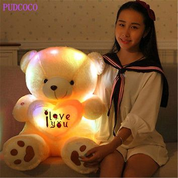 Kids Favorites!New Arrival 50cm Lovely Soft LED Colorful Glowing Teddy Bear Stuffed Plush Toy Gifts For Birthday