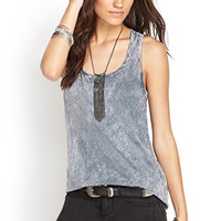 FOREVER 21 Mineral Wash Racerback Tank Grey