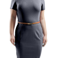 Womens Fitted Short Sleeve Midi Dress with Pockets