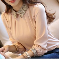 Light Pink Peter Pan Collar Office Worker/Daily Blouse