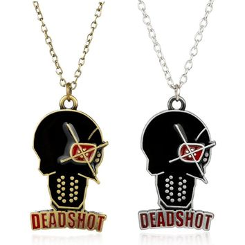 dongsheng Suicide Squad Deadshot Pendant Necklace DC Comics Harley Quinn Jewelry Justice League Chain Necklace For Fans Gifts