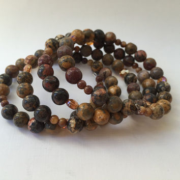 Earthtone Wrap Beaded Bracelet Memory Wire Brown Beads Earth