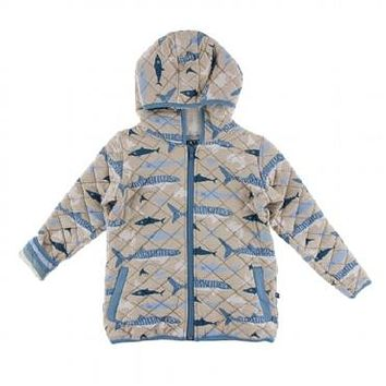 Kickee Pants Oceanography Collection Print Quilted Jacket with Sherpa-Lined Hood