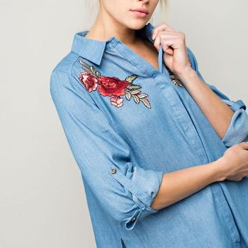 Desert Rose Denim Long Shirt