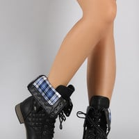 Plaid Cuff Quilted Combat Lace Up Boots