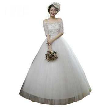 Custom Made White Wedding Dress Half Sleeves Lace Up Crystal Wedding Ball Gowns