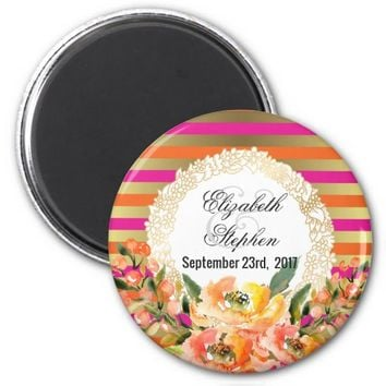 Pink and Gold Metallic Stripes w/ Florals Wedding Magnet