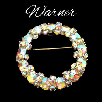 WARNER Aurora Borealis Rhinestone Brooch, AB Rhinestone Brooch, Circle Collar Brooch, Wedding Gown Sash Brooch, Gift for Teen, Gift For Her