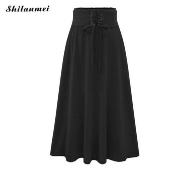 Boho office faldas high low black gray winter circle saia jupe midi women femme summer sexy wrap pleated long maxi bandage skirt