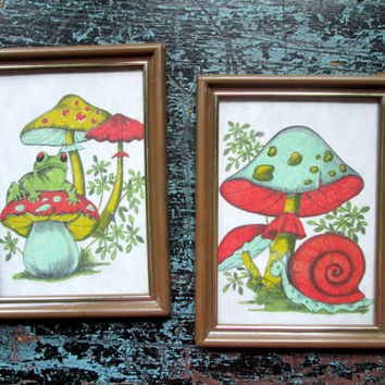 60s Wall Art Retro Decor set of 2 pictures frog toadstool snail mushrooms Mad Men decor mod vintage 1960s childrens art kitchen art Nu Dell