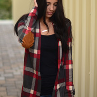 Best You Ever Plaid Cardigan- Charcoal
