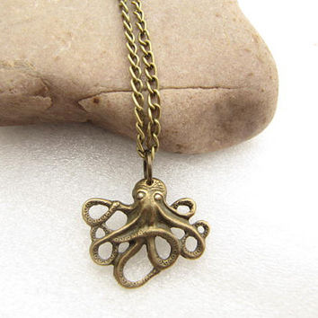 ON SALE--little octopus necklace antique jewelry steampunk giftwith charm chain jewelry