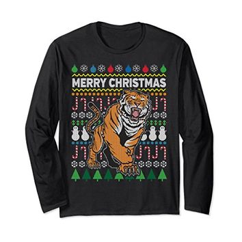 Tiger Ugly Holiday Long Sleeve T-shirt - Merry Christmas