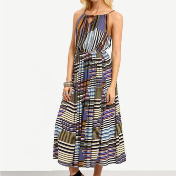 Multicolor Striped Sleeveless Lace Chest Maxi Dress