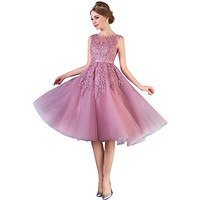 Dust Pink Beaded Lace Appliques Short Prom Dresses Robe De Soiree Knee Length Party Evening Dress