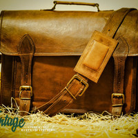 Vintage Handmade Goat Leather Multi-pockets DSLR Camera Bag / Messenger Bag