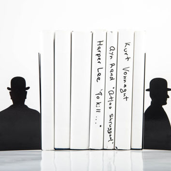 Bookends FREE WORLDWIDE SHIPPING - Inspired by Rene Magritte, laser cut metal black