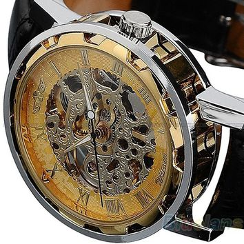 Special Design:   Men's Skeleton Mechanical Dial With Leather Band Wrist Watch
