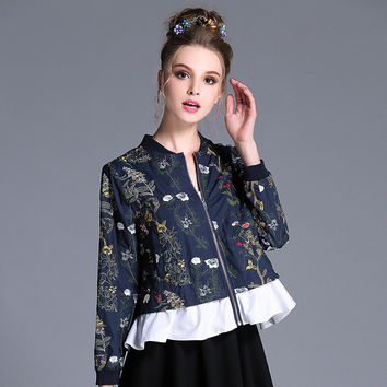 Autumn 2016 Style Navy Blue Ruffle 100% Cotton Crop Floral Embroidery Jacket Plus Size Women Clothing l-4xl,5xl
