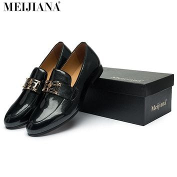 2017 men leather shoes MeiJiaNa Brand handmade Loafers