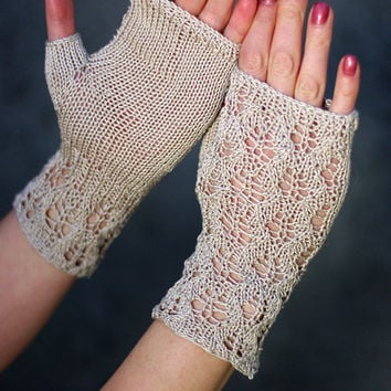 Cotton fingerless gloves, summer accessories, knit lace gloves, bridal lace gloves, wedding fachion, cotton romantic lace gloves, armwarmers