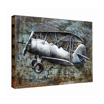 3D Metal Art 100% Handmade Metal Unique Wall Art The BiPlane Airplane