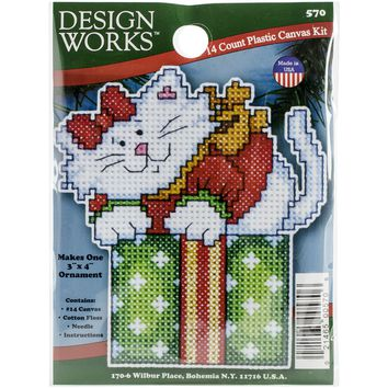 "Cat In Box (14 Count) Design Works Plastic Canvas Ornament Kit 4""X3"""