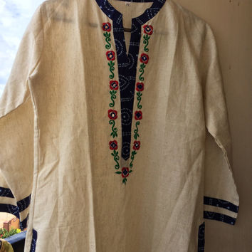 Indian Ethnic Cotton long Kurti, Kurta, Top, Tunic, Indian Dress with embroidery