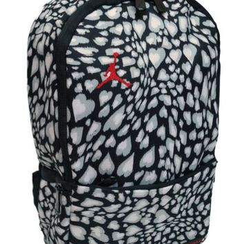 Nike Air Jordan Black and White Hearts Small Cheetah Preschool Toddler Mini Backpack Bag for Girls 7A1538-K14
