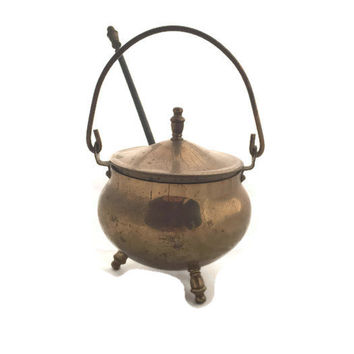 Antique Smudge Pot, Brass Fire Starter Kettle With Pumice Wand, Brass Fireplace Starter