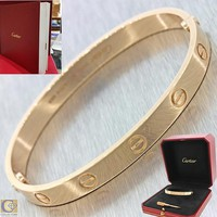MINT Cartier Love 18k Rose Gold Screw Bangle Bracelet Box Booklets Size 17