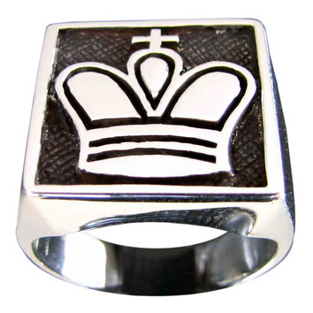 The King Symbol Chess Ring Crown in Sterling Silver 925