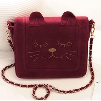 JAPAN Smily Cutie Cat Face Vintage Suede Shoulder Chain Bag Messenger Handbag