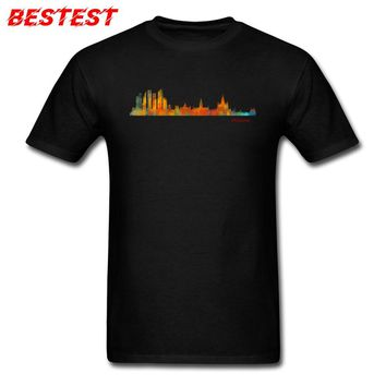 Black T-shirt Men T Shirt Simple Hip Hop Top Cotton Tshirt Hipster Street Style Moscow Skyline In Watercolor Digital Art Clothes