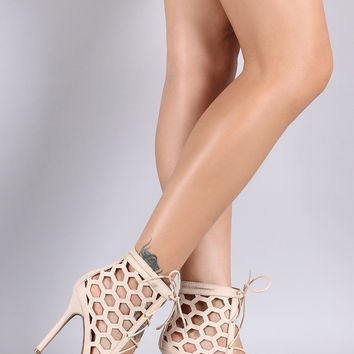 Wild Diva Lounge Suede Honeycomb Cutout Lace-Up Heel