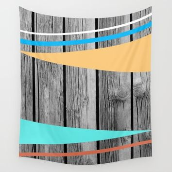 Colors On Monochrome Wood Wall Tapestry by ARTbyJWP
