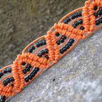 Bright Orange and Black Macramé Bracelet