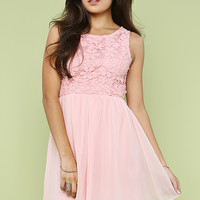 Crochet With Chiffon Flare Dress