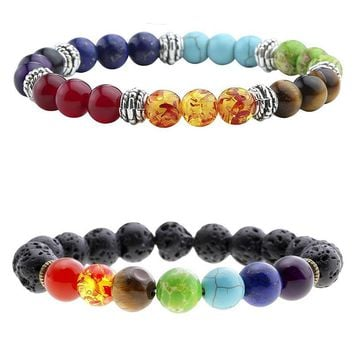 7 Chakra  Natural Stone & Black Lava Beads YOGA Bracelet - Women / Men  - FREE SHIPPING