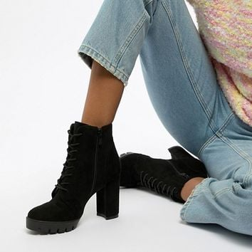 RAID Atlas Black Chunky Lace Up Heeled Ankle Boots at asos.com