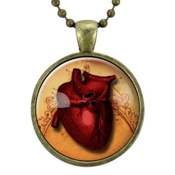 Red Anatomical Heart Necklace, Gothic Jewelry, Goth Necklace, Halloween Necklace, Scary Spooky Pendant, Macabre Oddity Fashion