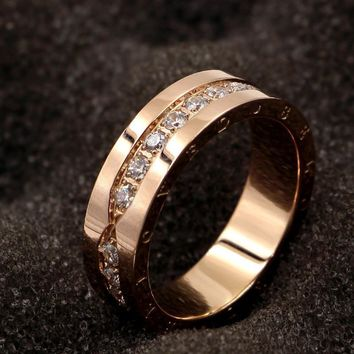 brand belove letter stainless steel crystal one row screw rings rose gold color woman girl wedding party gift