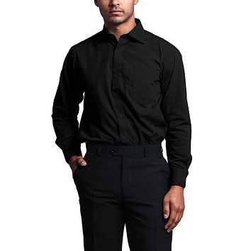 Regular Fit Long Sleeve Dress Shirt - Black