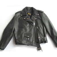 Vintage Black Leather Motorcycle Jacket Reed Sportswear Harley Patch