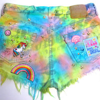 Vintage Levis 501 Rainbow Star Studded Patches Tie Dye Cut Off High Waisted Denim Shorts L