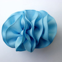 Ribbon Hairclip, Sky Blue Ribbon Flower, Barrette Hair Clip -Newborn Baby Girl Photography Prop