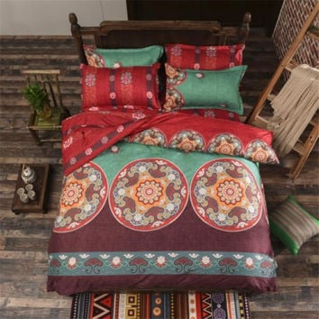 Bohemian Mandala Bedding Set (Reversible Duvet Cover + Bedsheet + Pillowcase) Kaleidoscope Flowers Red Twin Full Queen King Size