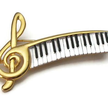 Vintage AJC Treble Clef and Piano Keyboard Brooch - Musical Pin - Gold Tone & Black and White Enamel Piano Keys - Music Lover Musician Gift